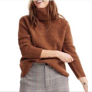 MADEWELL Mercer Turtleneck Brown Knit Wool Blend Sweater XS